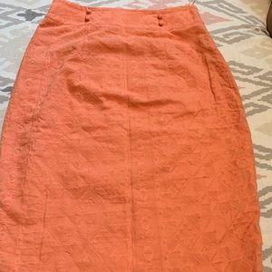 Coral Embroidered Pencil Skirt